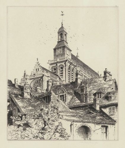 "John Taylor Arms, etching, ""�glise Saint Gervais, Gisors"""