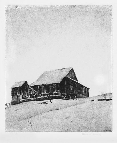 "Albert W. Barker, lithograph, ""Upper Barn, Winter"""