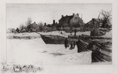 "Stephen Parrish, etching, ""Trenton Winter, 1883"""