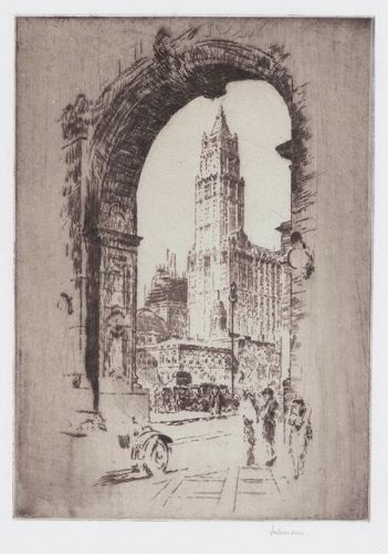 "Karl Dehmann, etching, ""Woolworth Building Through the Arch"""