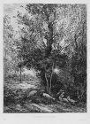 """Charles Daubigny, etching, """"Le Berger et la Bergère"""""""