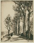 "Gene Kloss, etching, ""The Avenue"""