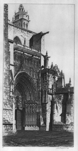 "John Taylor Arms, etching, ""Palencia Cathedral"""