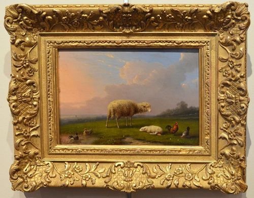 "Francois van Severdonck, oil on panel, ""Sheep and Lamb"""