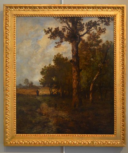 "Léon Richet, oil on canvas, ""Landscape with Figure"""