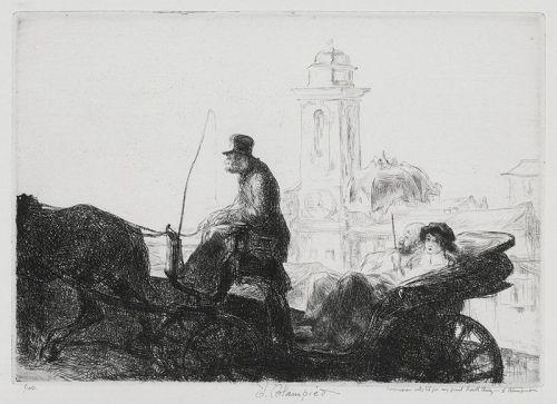 "Edmund Blampied, etching, ""En Promenade"""