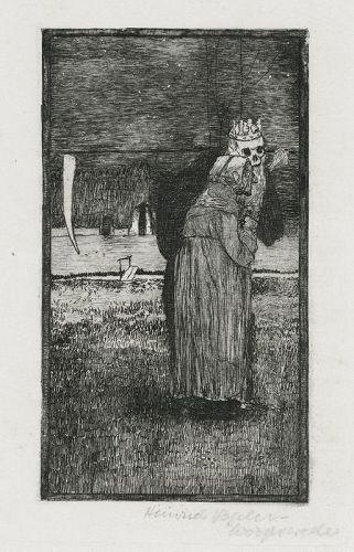 "Heinrich Vogeler, etching, ""Death and the Old"""