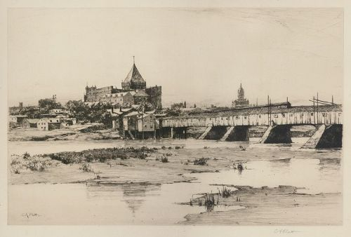 "Charles Adams Platt, etching, ""Hartford Bridge"""