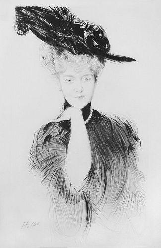 """Paul Cesar Helleu, etching, """"Femme aux Perles dans un Chapeau"""""""