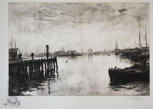 "Stephen Parrish, etching, ""Gloucester Harbor"""