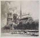 """Louis Orr, etching, """"Notre Dame de Paris"""""""