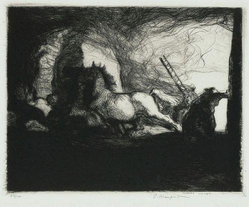 "Edmund Blampied, etching, ""Farm Fire"""