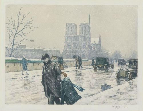 "Tavik F. Simon, etching, ""Notre Dame in Winter"""