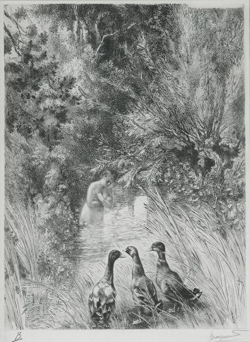 "Felix Bracquemond, etching, ""Canards Surpris"""