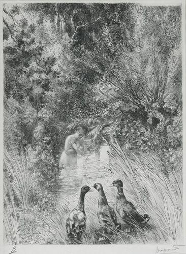 "Felix Bracquemond, etching, ""Canards Surpris"""