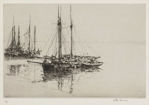 "Arthur Briscoe, etching, ""Oyster Dreckers"""
