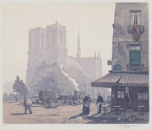 "Tavik F. Simon, etching, ""Notre Dame de Paris in the Morning"""