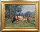 "Charles Franklin Pierce, oil painting, ""Cattle and Sheep in a Pasture"""