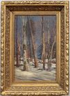 "William Preston Phelps, oil painting, ""New England Woods in Winter"""