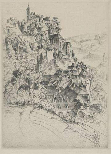 """John Taylor Arms, etching, """"Rocamadour"""""""