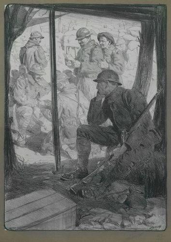 """Lucien Jonas, lithograph, """"Le Soldat des Régions Envahies"""""""