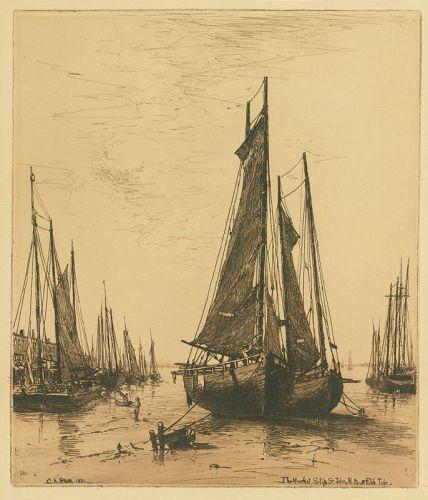 "Charles Adams Platt, etching, ""The Market Slip, St. John, N.B"""