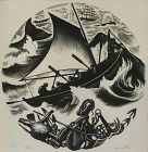 "Clare Leighton, wood engraving, ""Whaling"""