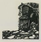 "Clare Leighton, wood engraving, ""Water Mill"""