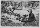 "Jacques Tissot, etching, ""En Plein Soleil (In the Sunlight)"""