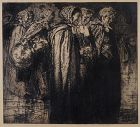"Sir Frank Brangwyn, etching, ""Old Women, Bruges"""