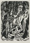 "Nora Unwin, wood engraving, ""Shadows in a Winter Wood"""