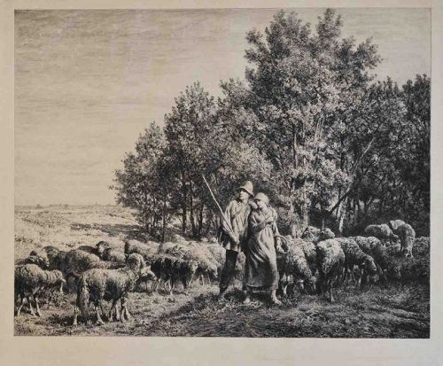 Charles Jacques etching,The Shepard