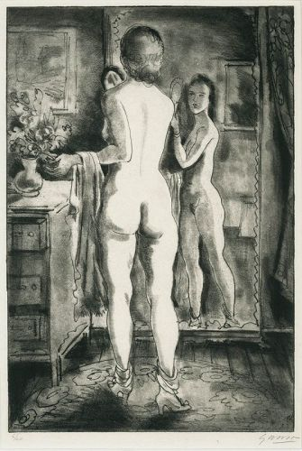 Nude with Mirror, etching Emil Ganso