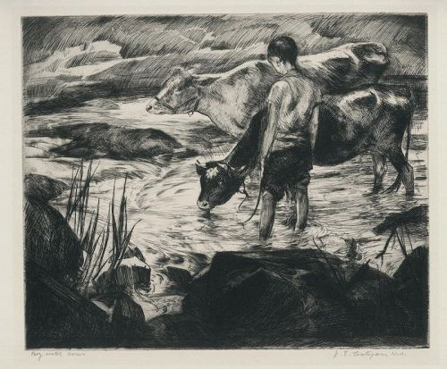 John Costigan etching, Boy with Cows