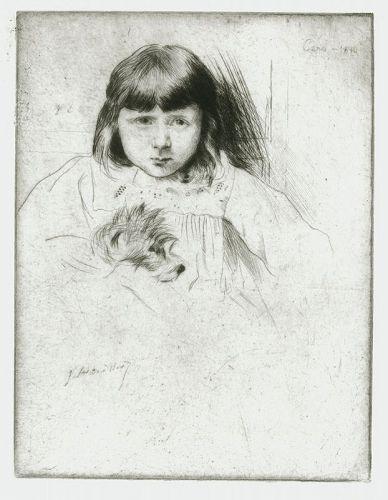 Original etching J. Alden Weir, Caro