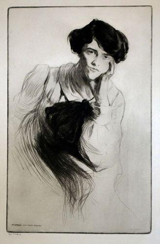 Edgar Chahine etching  Mademoiselle Delvair de la Comedie Francai
