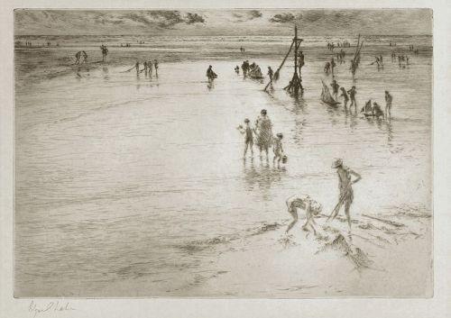 Edgar Chahine etching, Maree Basse,1930