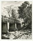 Jackson Lee Nesbitt etching, Ozark Bridge