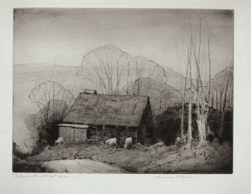 Chauncey Ryder etching,  Sugarhouse at Jeffersonville, Vt
