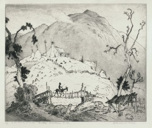 Harrison Cady etching, Lonesome Gap, Smokey Mountains