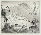 Harrison Cady etching, Lonesome Gap, Smokey Mountains