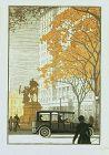 Rudolph Ruzicka color woodblock, A New York Taxi