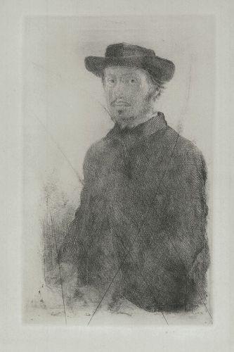 Self Portrait, etching by Edgar Degas