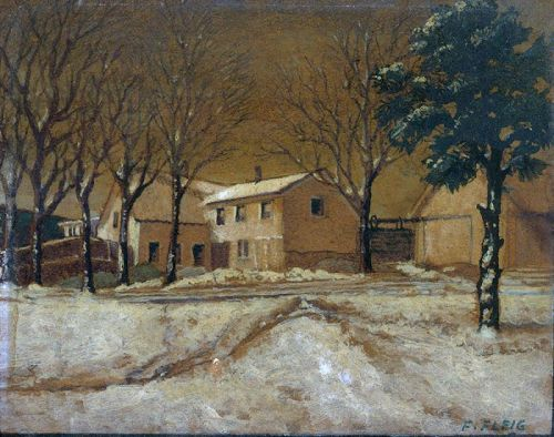 Painting, Franz Fleig, House in Winter, c.1930's