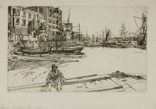 Whistler etching, Eagle Wharf 1859
