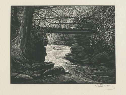 Thomas Nason wood engraving, Mountain Stream
