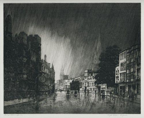George Elbert Burr etching, High Steet,Oxford