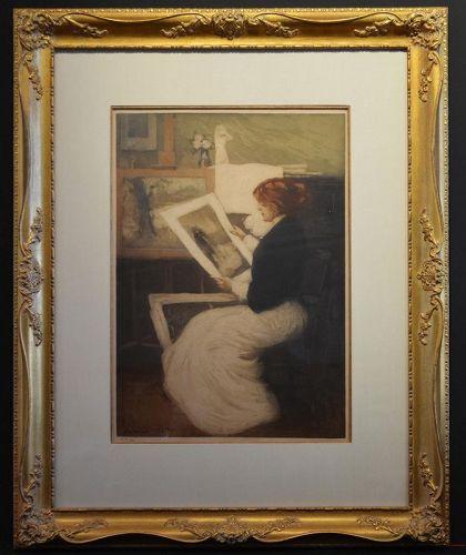 Manuel Robbe etching,  Femme A L'Estampe