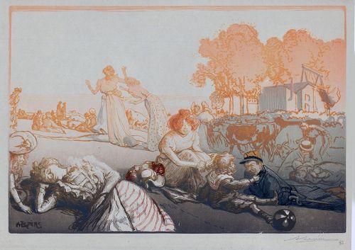 August Lepere, wood block print, Bucolique Moderne