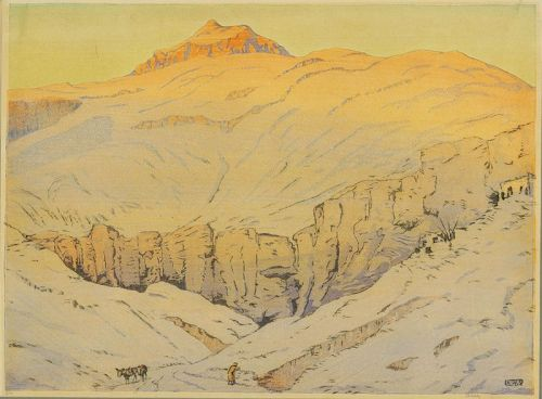Color woodblock, Allen Seaby, Valley of the Kings